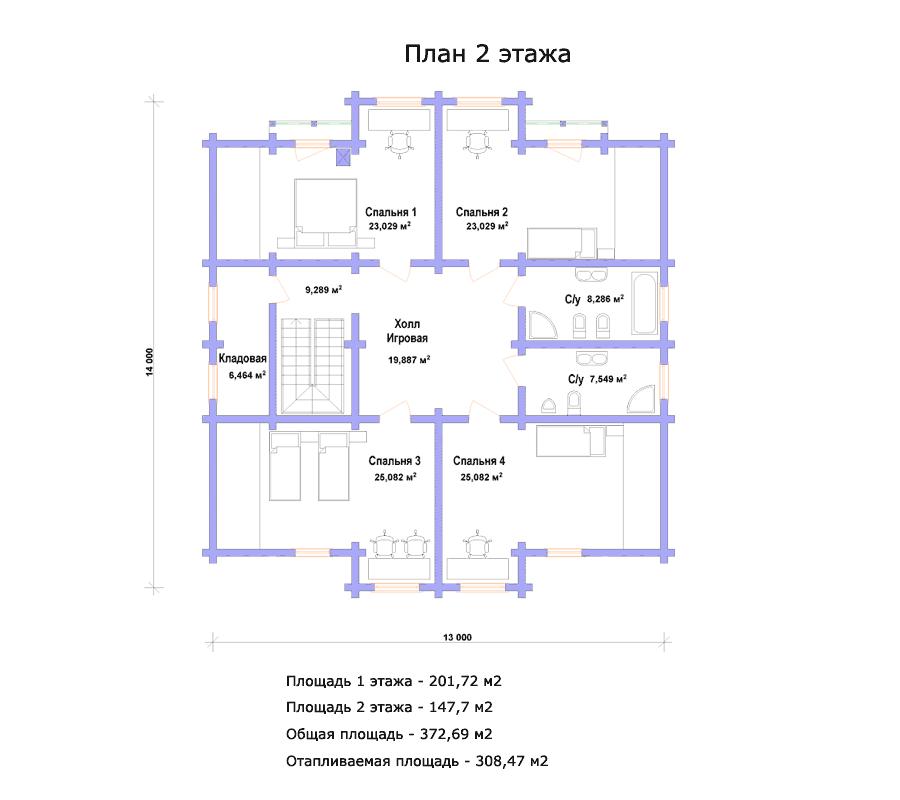 202 кв м площадь 2 этажа 148 кв м площадь