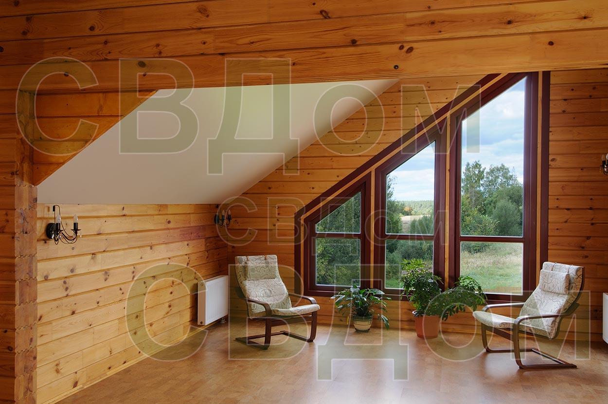 Интерьер внутри дома из клееного бруса фото