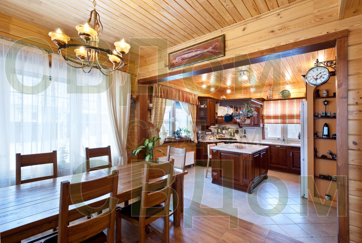 Дизайн кухня гостиная в доме из бруса