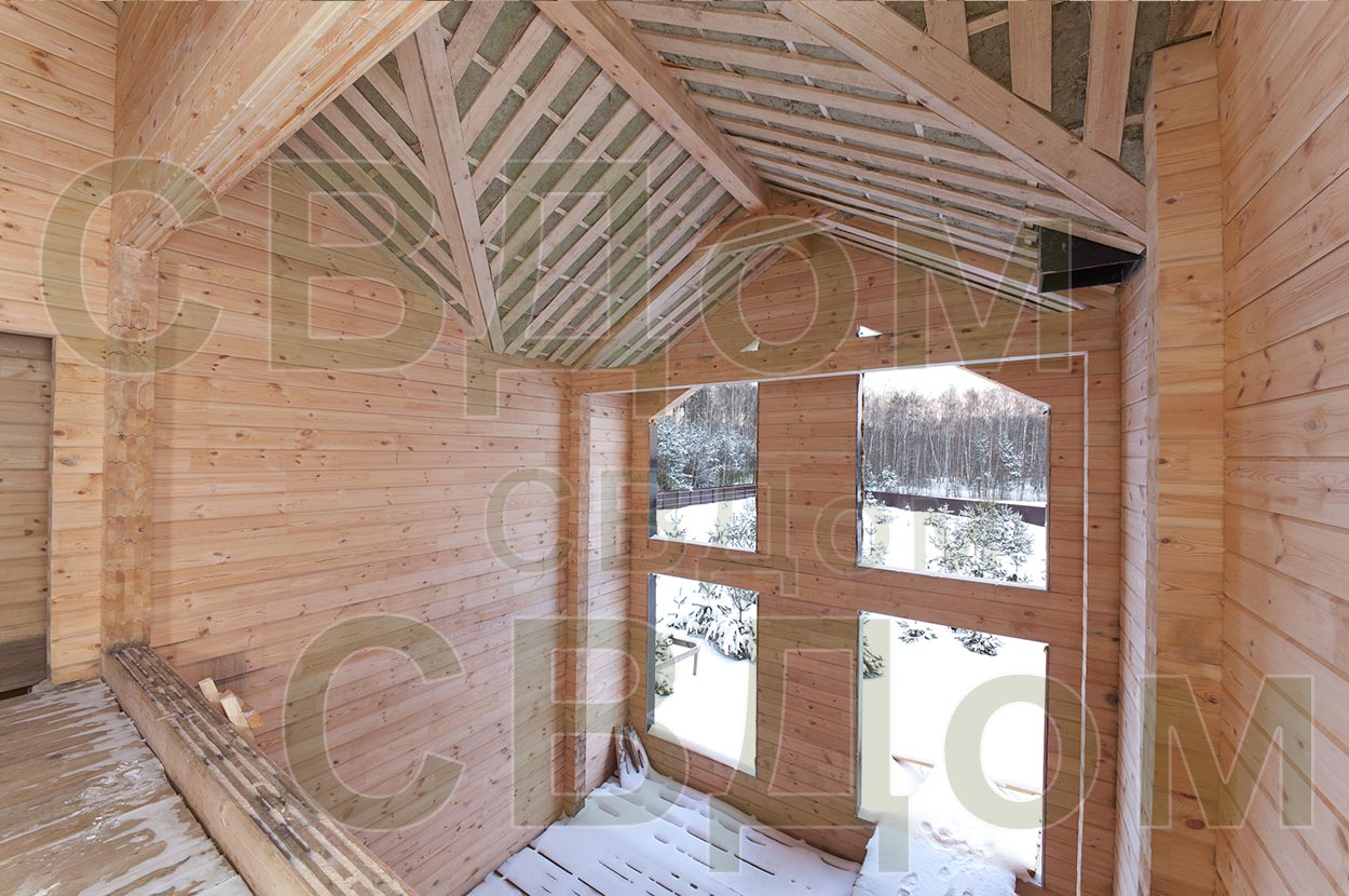 дома из клеёного бруса внутри фото