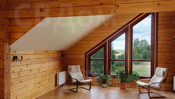 Дизайн дома из бруса с мансардой