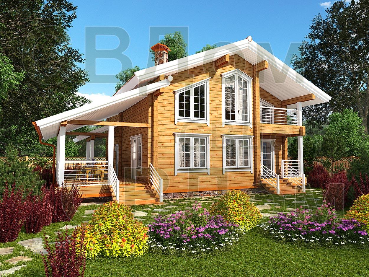 Дома из клееного бруса в стиле прованс.